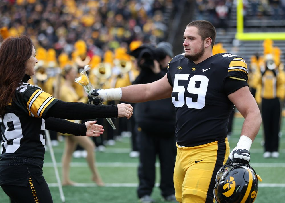 Iowa Hawkeyes offensive lineman Ross Reynolds (59) during senior day activities before their game against the Nebraska Cornhuskers Friday, November 23, 2018 at Kinnick Stadium. (Brian Ray/hawkeyesports.com)
