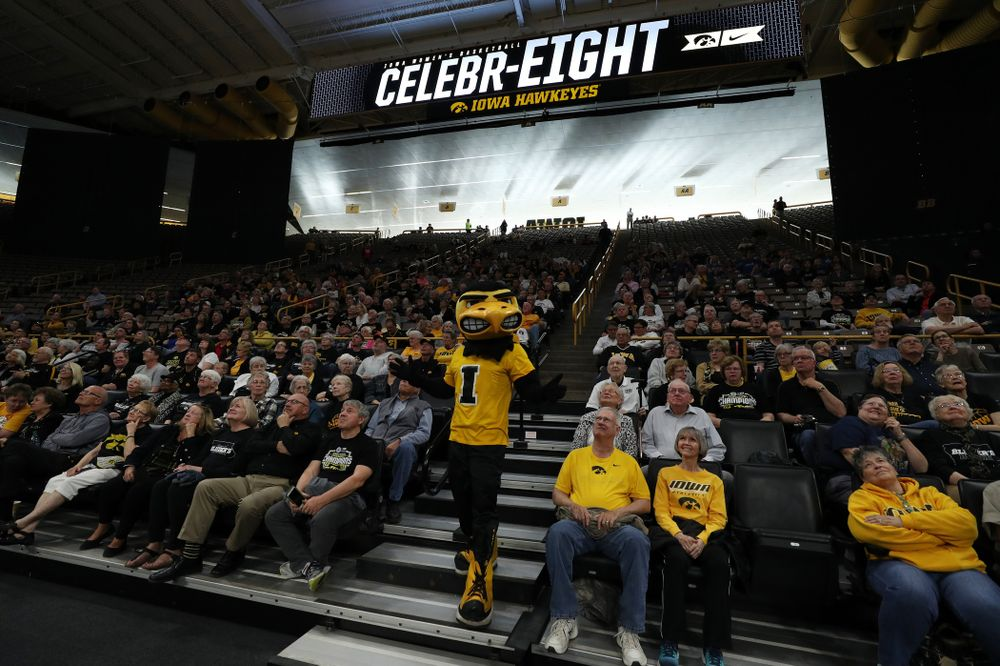 Herky The Hawk during the teamÕs Celebr-Eight event Wednesday, April 24, 2019 at Carver-Hawkeye Arena. (Brian Ray/hawkeyesports.com)