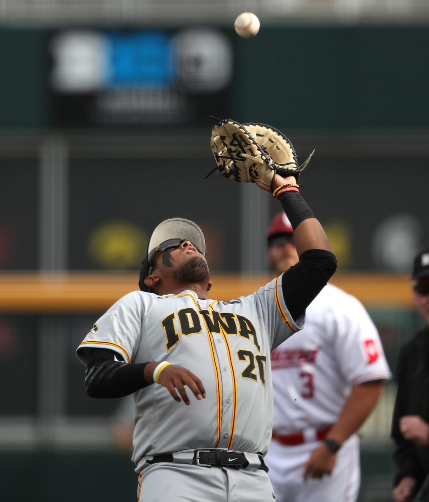 Iowa Hawkeyes Izaya Fullard (20) catches a fly ball against the Indiana Hoosiers in the first round of the Big Ten Baseball Tournament Wednesday, May 22, 2019 at TD Ameritrade Park in Omaha, Neb. (Brian Ray/hawkeyesports.com)