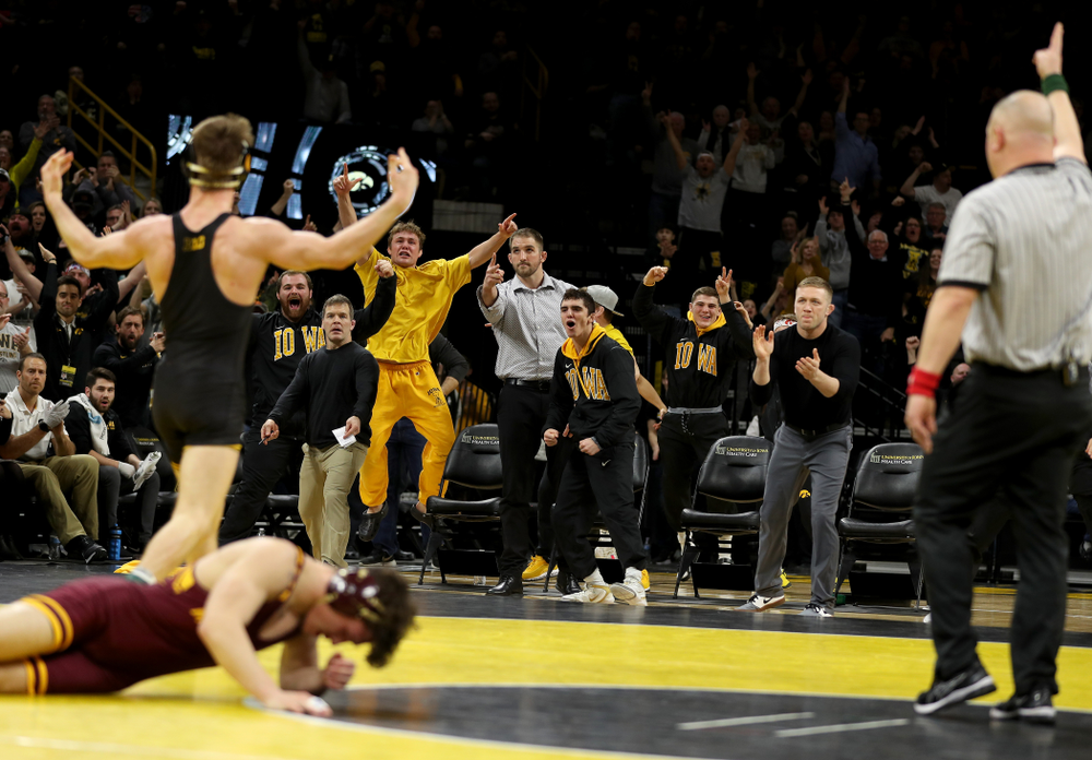 Iowa's Max Murin wrestles Minnesota's Mitch McKee at 141 pounds Saturday, February 15, 2020 at Carver-Hawkeye Arena. Murin won the match 6-4. (Brian Ray/hawkeyesports.com)