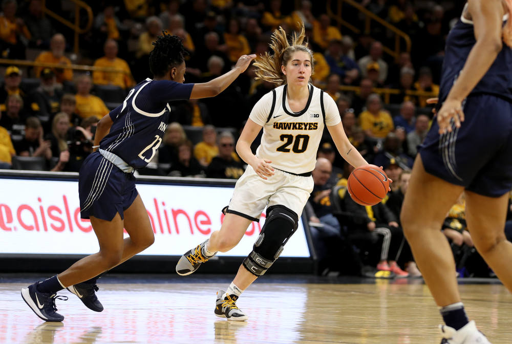Iowa Hawkeyes guard Kate Martin (20) against Penn State Saturday, February 22, 2020 at Carver-Hawkeye Arena. (Brian Ray/hawkeyesports.com)