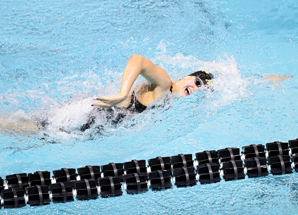 Iowa's Hannah Burvill swims the 800 yard freestyle relay event during the 2020 Big Ten Women's Swimming and Diving Championships at the Campus Recreation and Wellness Center in Iowa City on Wednesday, February 19, 2020. (Stephen Mally/hawkeyesports.com)