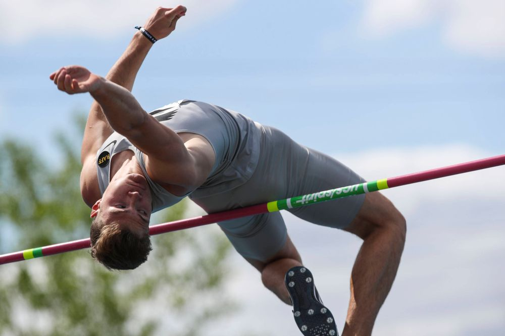 Iowa's Peyton Haack during the men's high jump at the Big Ten Outdoor Track and Field Championships at Francis X. Cretzmeyer Track on Friday, May 10, 2019. (Lily Smith/hawkeyesports.com)
