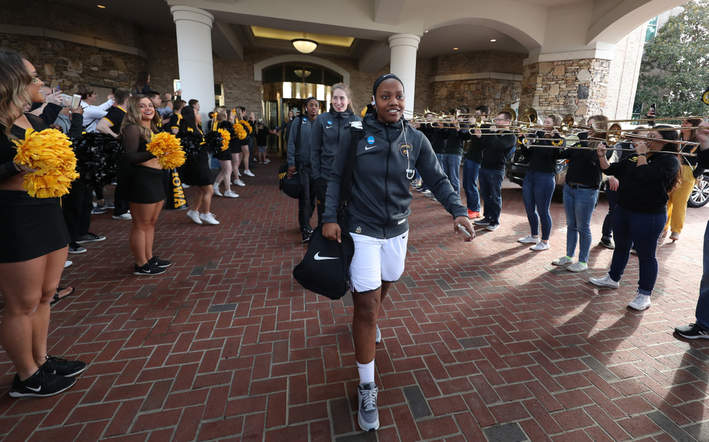 Iowa Hawkeyes guard Zion Sanders (24) during a send off at the hotel before their game against the NC State Wolfpack in the regional semi-final of the 2019 NCAA Women's College Basketball Tournament Saturday, March 30, 2019 at Greensboro Coliseum in Greensboro, NC.(Brian Ray/hawkeyesports.com)