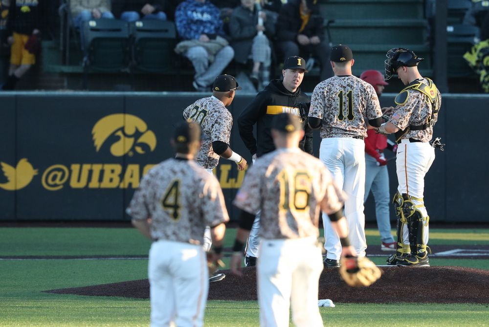 Pithing Coach Tom Gorzelanny against the Nebraska Cornhuskers on Military Appreciation Night Friday, April 19, 2019 at Duane Banks Field. (Brian Ray/hawkeyesports.com)