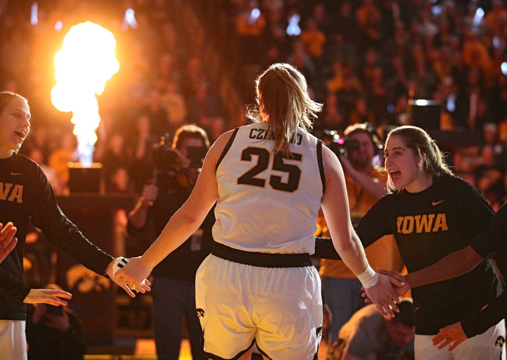 Iowa Hawkeyes forward Monika Czinano (25) is introduced before the game at Carver-Hawkeye Arena in Iowa City on Thursday, February 6, 2020. (Stephen Mally/hawkeyesports.com)