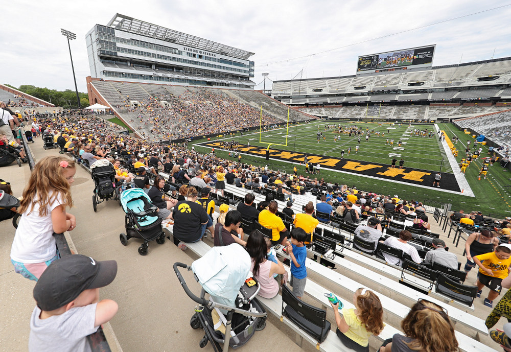 Fans watch Fall Camp Practice No. 8 at Kids Day at Kinnick Stadium in Iowa City on Saturday, Aug 10, 2019. (Stephen Mally/hawkeyesports.com)