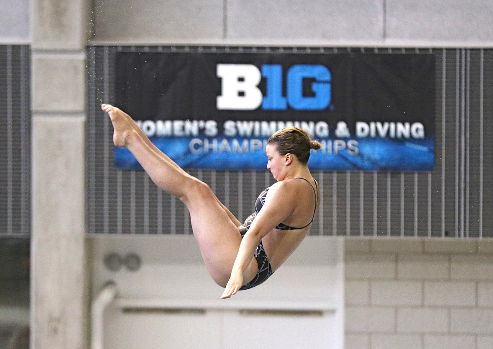 Iowa's Claire Park competes in the women's platform diving preliminary event during the 2020 Women's Big Ten Swimming and Diving Championships at the Campus Recreation and Wellness Center in Iowa City on Saturday, February 22, 2020. (Stephen Mally/hawkeyesports.com)