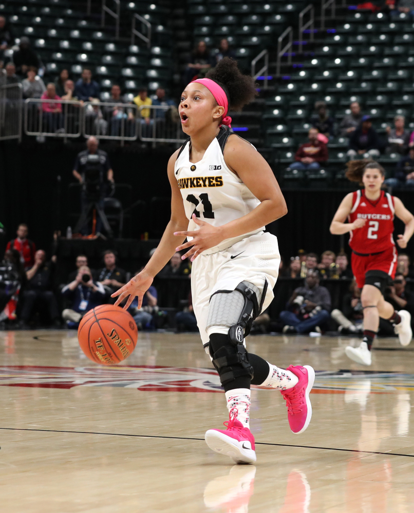 Iowa Hawkeyes guard Tania Davis (11) against the Rutgers Scarlet Knights in the semi-finals of the Big Ten Tournament Saturday, March 9, 2019 at Bankers Life Fieldhouse in Indianapolis, Ind. (Brian Ray/hawkeyesports.com)