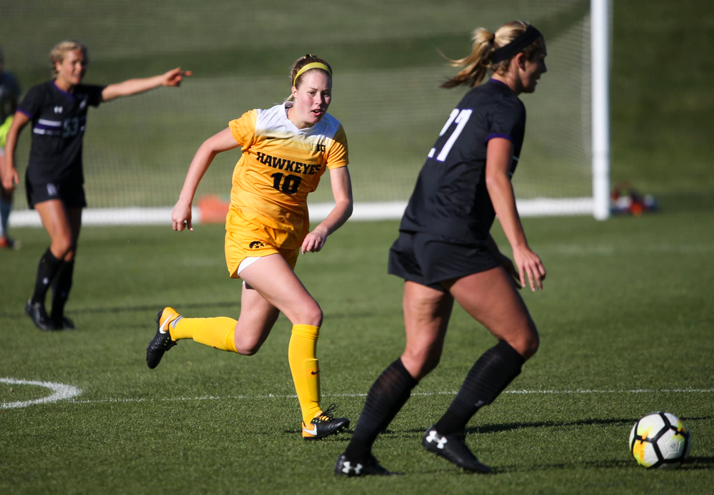 Iowa Hawkeyes midfielder Natalie Winters (10) defends during a game against Northwestern at the Iowa Soccer Complex on October 21, 2018. (Tork Mason/hawkeyesports.com)