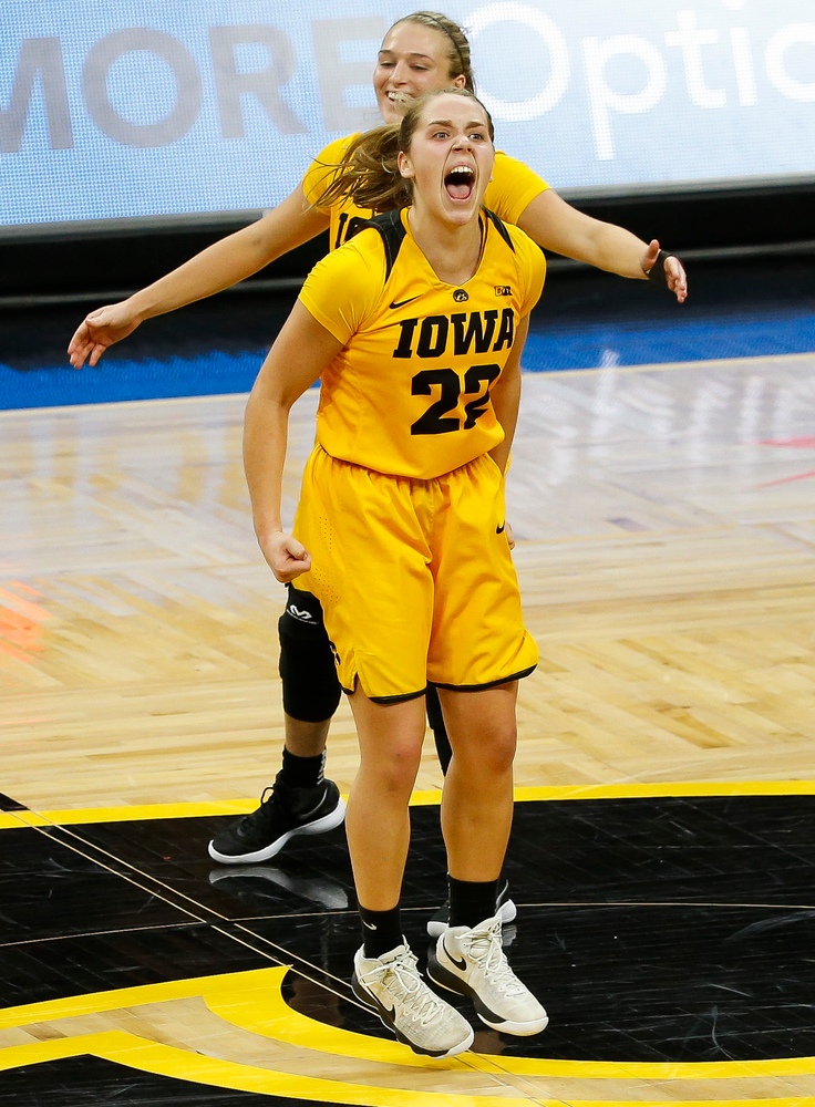 Iowa Hawkeyes guard Kathleen Doyle (22) reacts on her way to the bench during a game against the Ohio State Buckeyes at Carver-Hawkeye Arena on January 25, 2018. (Tork Mason/hawkeyesports.com)