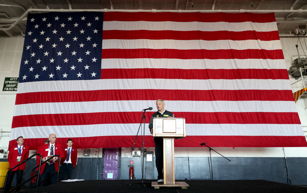 Iowa Hawkeyes head coach Kirk Ferentz speaks during a tour of the USS Theodore Roosevelt (CVN-71) Tuesday, December 24, 2019 at the Naval Base Coronado. (Brian Ray/hawkeyesports.com)
