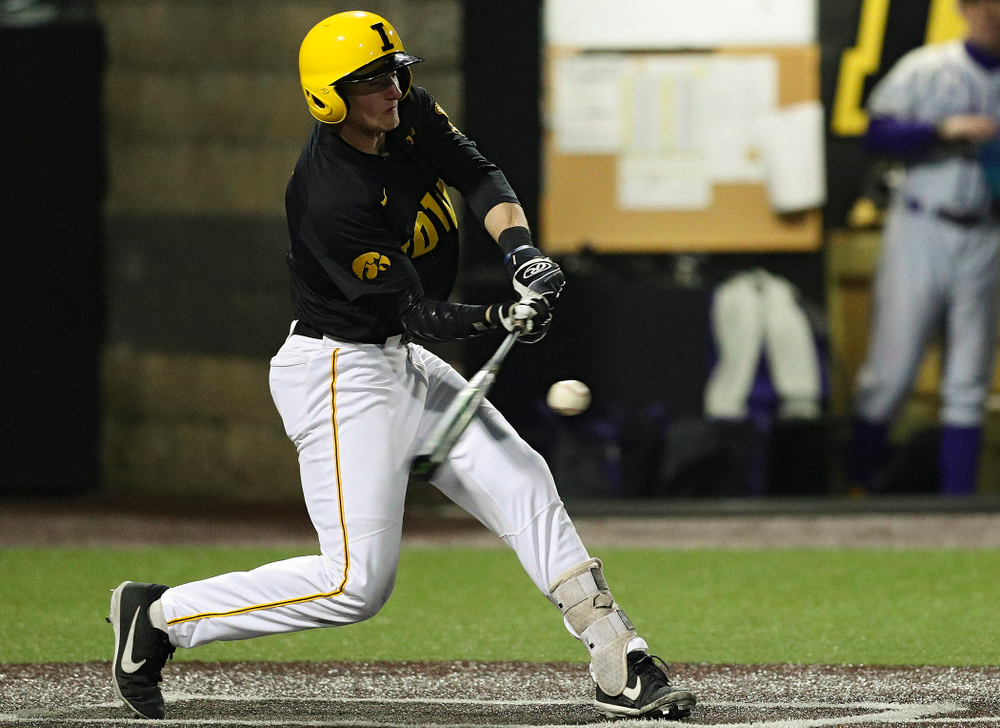 Iowa Hawkeyes second baseman Brendan Sher (2) gets a hit during the seventh inning of their game against Western Illinois at Duane Banks Field in Iowa City on Wednesday, May. 1, 2019. (Stephen Mally/hawkeyesports.com)