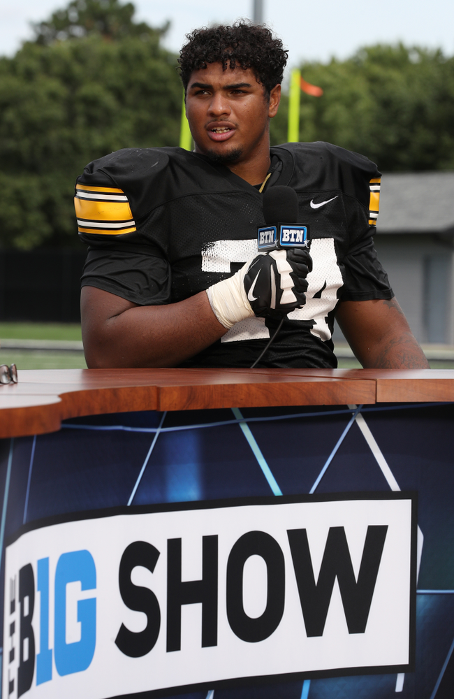Iowa Hawkeyes offensive lineman Tristan Wirfs (74) on the set of the BTN Tailgate Tour following fall camp Practice No. 16 Tuesday, August 20, 2019 at the Ronald D. and Margaret L. Kenyon Football Practice Facility. (Brian Ray/hawkeyesports.com)