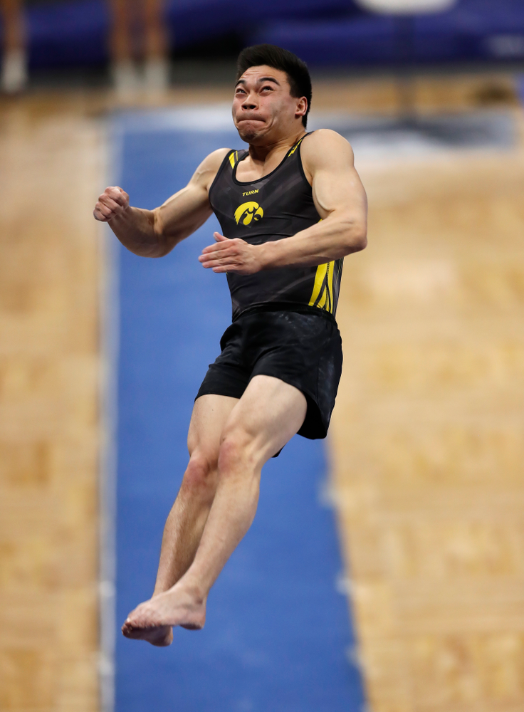 Iowa's Brandon Wong competes on the vault