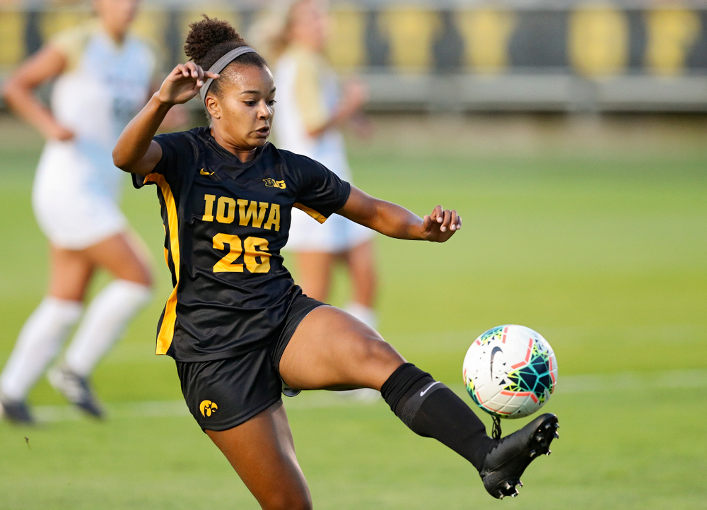 Iowa midfielder/forward Melina Hegelheimer (26) tries to control the ball during the first half of their match against Western Michigan at the Iowa Soccer Complex in Iowa City on Thursday, Aug 22, 2019. (Stephen Mally/hawkeyesports.com)