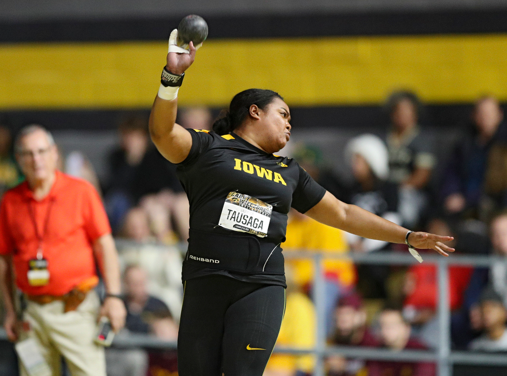 Iowa's Laulauga Tausaga throws in the women's shot put premier event during the Larry Wieczorek Invitational at the Recreation Building in Iowa City on Friday, January 17, 2020. (Stephen Mally/hawkeyesports.com)