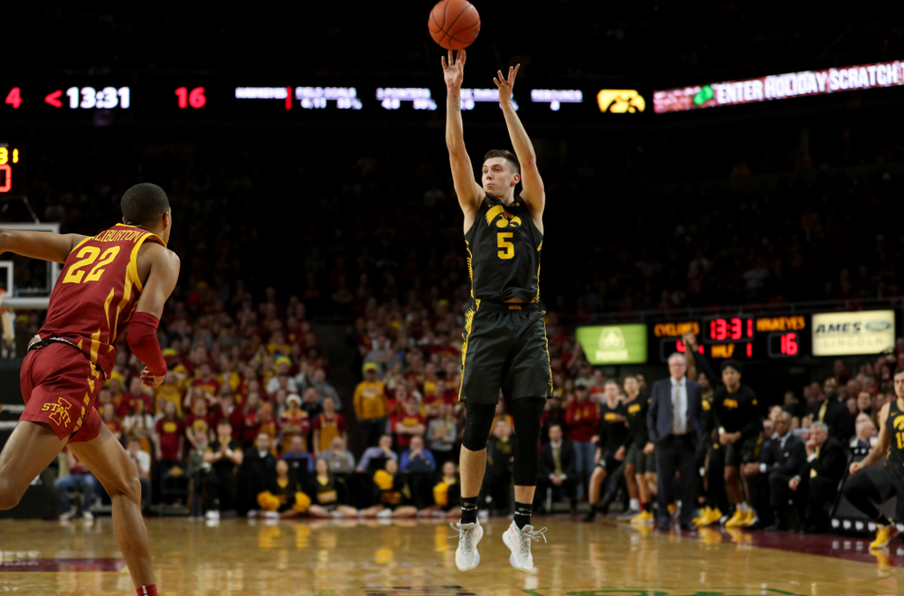 Iowa Hawkeyes guard CJ Fredrick (5) against the Iowa State Cyclones Thursday, December 12, 2019 at Hilton Coliseum in Ames, Iowa(Brian Ray/hawkeyesports.com)