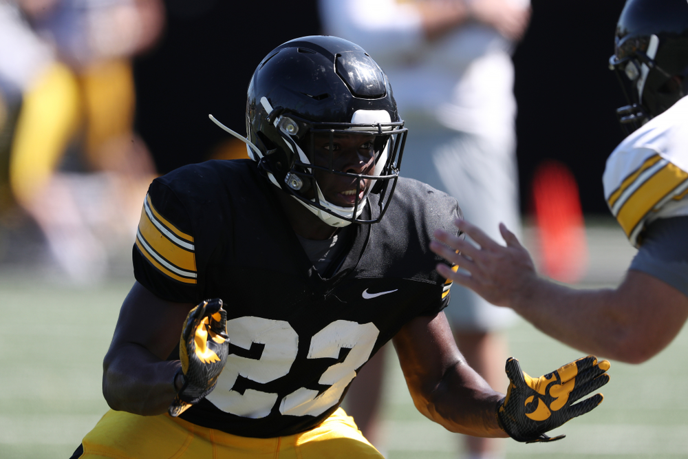 Iowa Hawkeyes running back Shadrick Byrd (23) during Fall Camp Practice No. 5 Tuesday, August 6, 2019 at the Ronald D. and Margaret L. Kenyon Football Practice Facility. (Brian Ray/hawkeyesports.com)