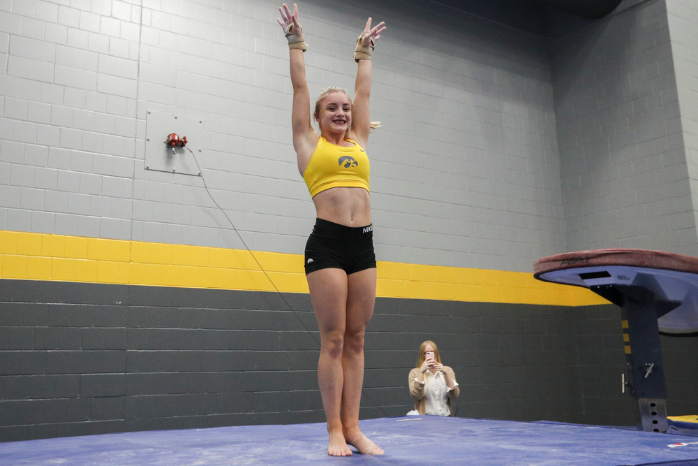 Lauren Guerin dismounts from the vault during the Iowa women's gymnastics Black and Gold Intraquad Meet on Saturday, December 7, 2019 at the UI Field House. (Lily Smith/hawkeyesports.com)
