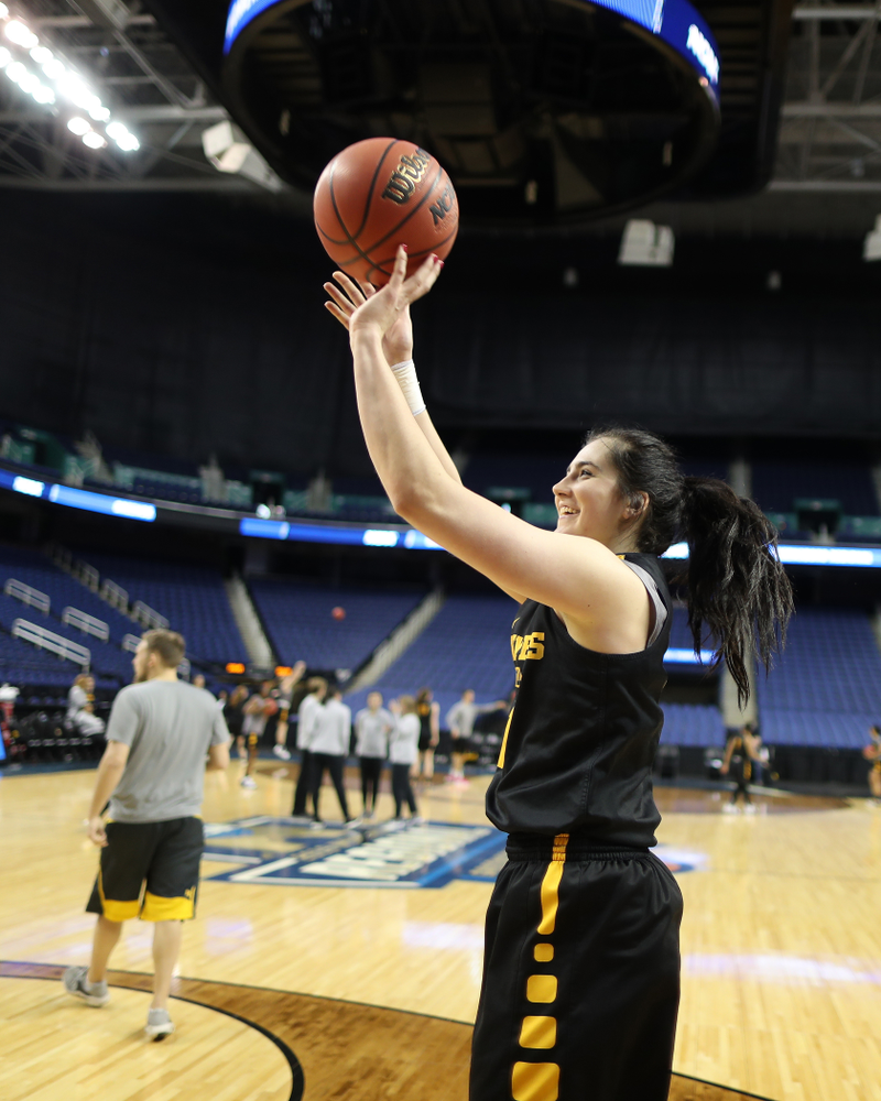 Iowa Hawkeyes forward Megan Gustafson (10) during media and practice as they prepare for their Sweet 16 matchup against NC State Friday, March 29, 2019 at the Greensboro Coliseum in Greensboro, NC.(Brian Ray/hawkeyesports.com)