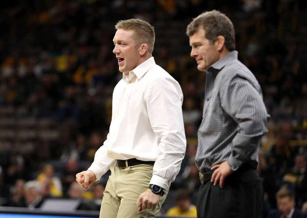 Assistant coach Ryan Morningstar as Iowa's Cash Wilcke wrestles Purdue's Max Lyon at 184 pounds Saturday, November 24, 2018 at Carver-Hawkeye Arena. (Brian Ray/hawkeyesports.com)