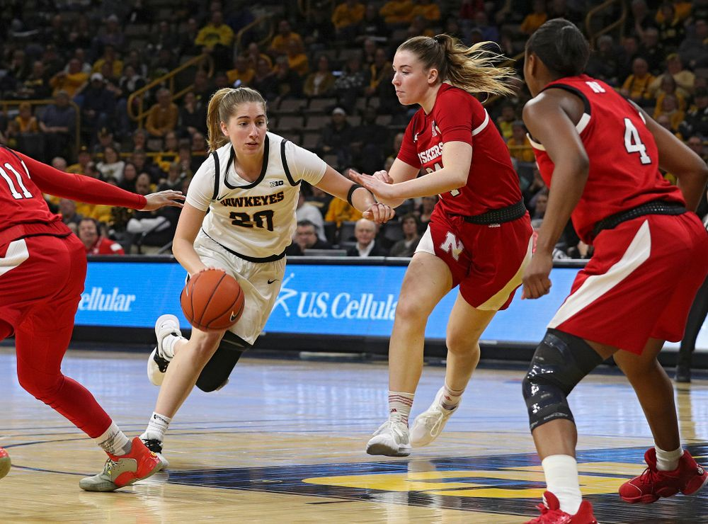 Iowa Hawkeyes guard Kate Martin (20) drives with the ball during the third quarter of the game at Carver-Hawkeye Arena in Iowa City on Thursday, February 6, 2020. (Stephen Mally/hawkeyesports.com)