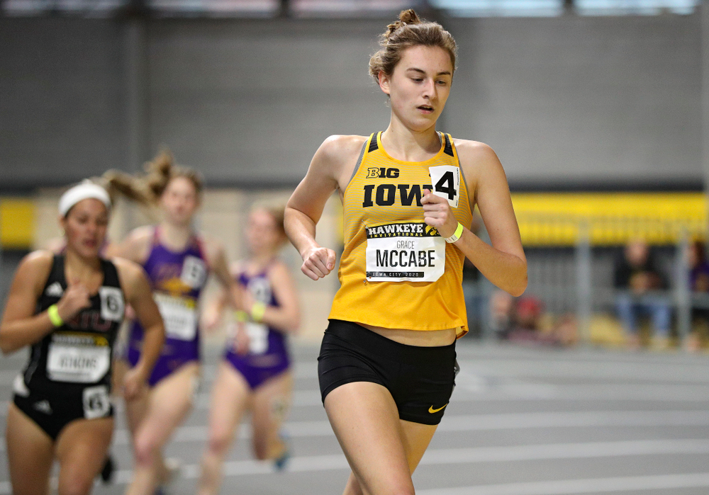 Iowa's Grace McCabe runs the women's 1 mile run event during the Hawkeye Invitational at the Recreation Building in Iowa City on Saturday, January 11, 2020. (Stephen Mally/hawkeyesports.com)