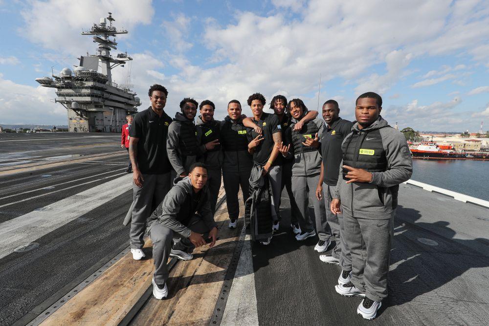 The Iowa Hawkeyes tour the USS Theodore Roosevelt (CVN-71) Tuesday, December 24, 2019 at the Naval Base Coronado. (Brian Ray/hawkeyesports.com)