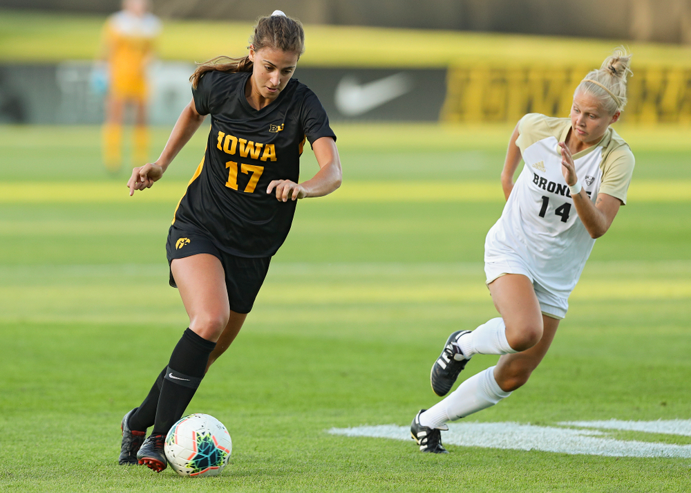 Iowa defender Hannah Drkulec (17) moves with the ball during the first half of their match against Western Michigan at the Iowa Soccer Complex in Iowa City on Thursday, Aug 22, 2019. (Stephen Mally/hawkeyesports.com)
