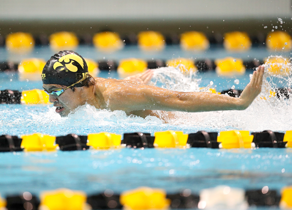 Iowa's Preston Plannells swims the butterfly section in the men's 400 yard medley relay event during their meet at the Campus Recreation and Wellness Center in Iowa City on Friday, February 7, 2020. (Stephen Mally/hawkeyesports.com)