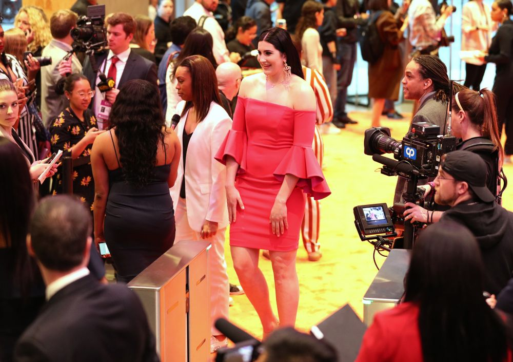 Iowa Hawkeyes forward Megan Gustafson (10) walks the orange carpet before the 2019 WNBA Draft Wednesday, April 10, 2019 at Nike New York Headquarters in New York City. (Brian Ray/hawkeyesports.com)
