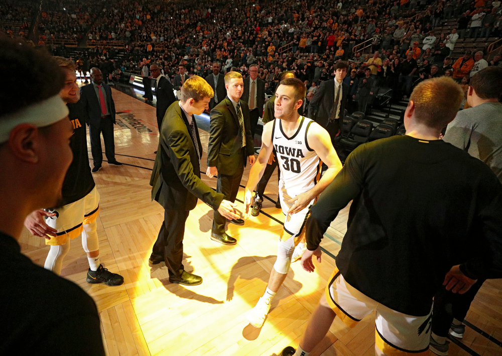 Iowa Hawkeyes guard Connor McCaffery (30) is introduced before the game at Carver-Hawkeye Arena in Iowa City on Sunday, December 29, 2019. (Stephen Mally/hawkeyesports.com)