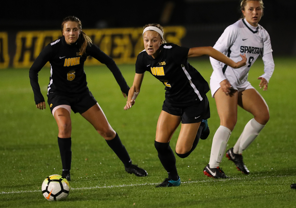 Iowa Hawkeyes midfielder Hailey Rydberg (2) chases down the ball during a game against Michigan State at the Iowa Soccer Complex on October 12, 2018. (Tork Mason/hawkeyesports.com)