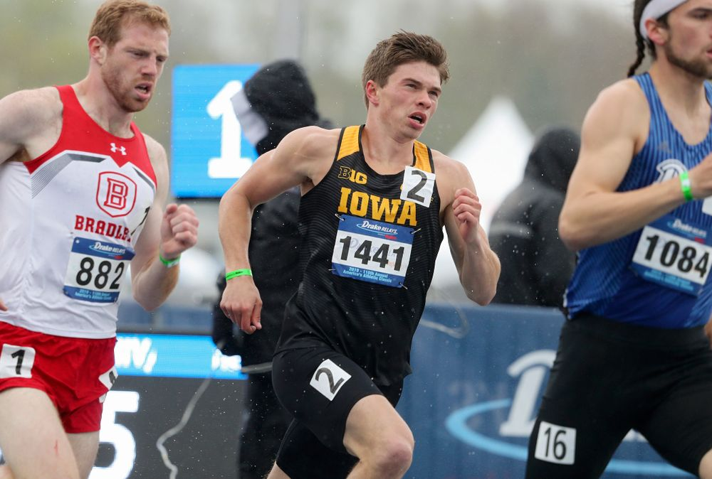 Iowa's Alec Still runs the men's 800 meter event during the third day of the Drake Relays at Drake Stadium in Des Moines on Saturday, Apr. 27, 2019. (Stephen Mally/hawkeyesports.com)