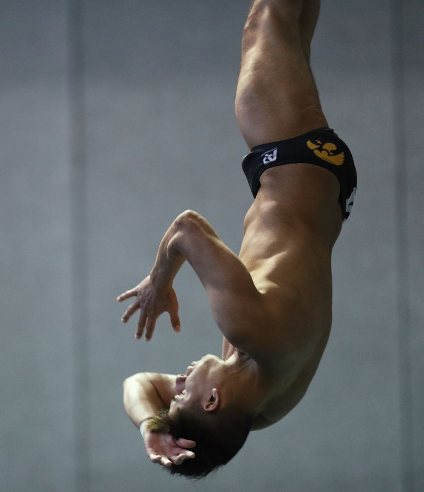 Jonatan Posligua competes on the 3 meter board Thursday, November 15, 2018 during the 2018 Hawkeye Invitational at the Campus Recreation and Wellness Center. (Brian Ray/hawkeyesports.com)