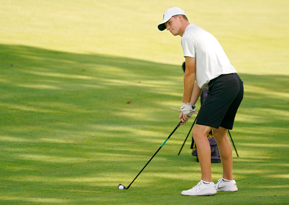 Iowa's Benton Weinberg hits from the fairway during the second day of the Golfweek Conference Challenge at the Cedar Rapids Country Club in Cedar Rapids on Monday, Sep 16, 2019. (Stephen Mally/hawkeyesports.com)