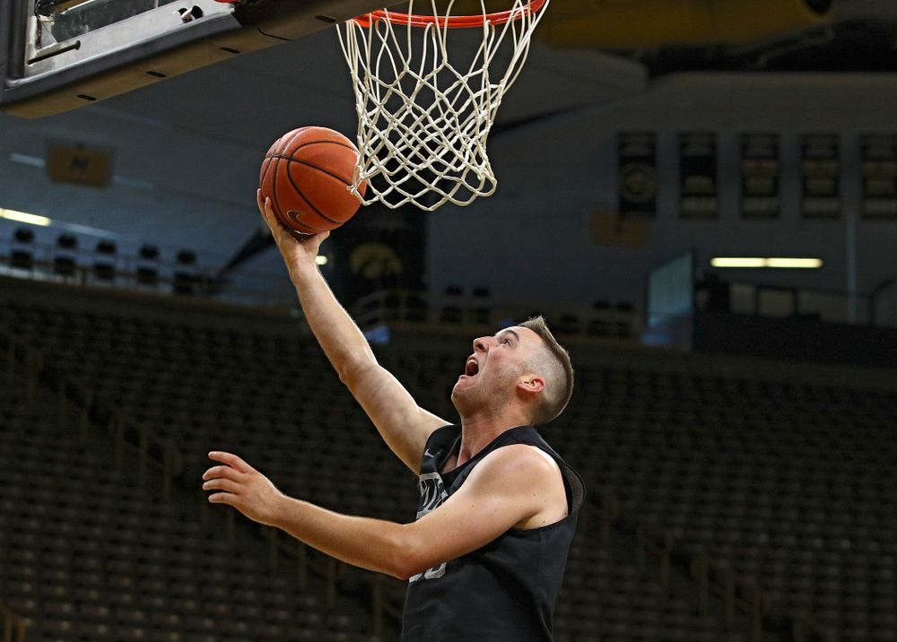 Iowa Hawkeyes guard Connor McCaffery (30) hooks in a basket during practice at Carver-Hawkeye Arena in Iowa City on Monday, Sep 30, 2019. (Stephen Mally/hawkeyesports.com)