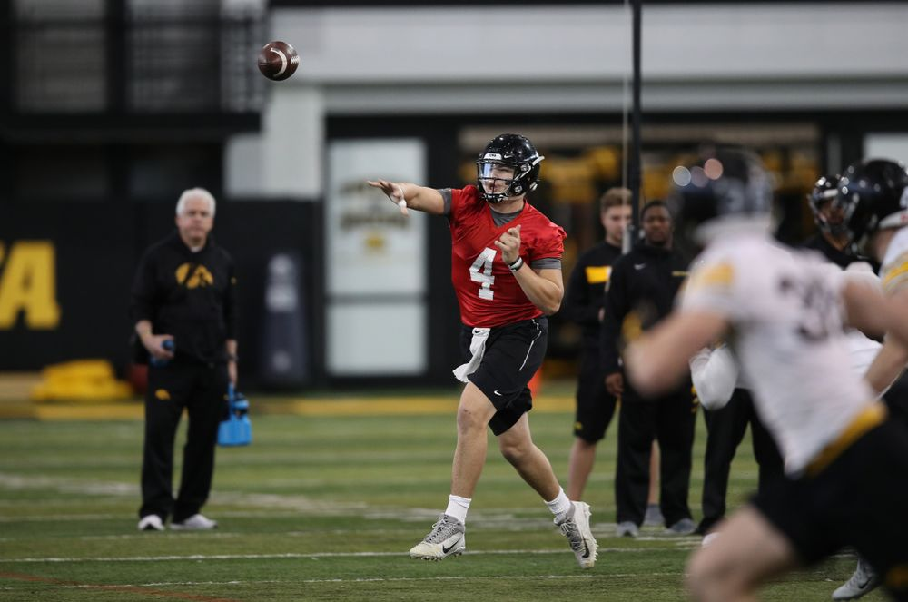 Iowa Hawkeyes quarterback Nate Stanley (4) during preparation for the 2019 Outback Bowl Tuesday, December 18, 2018 at the Hansen Football Performance Center. (Brian Ray/hawkeyesports.com)