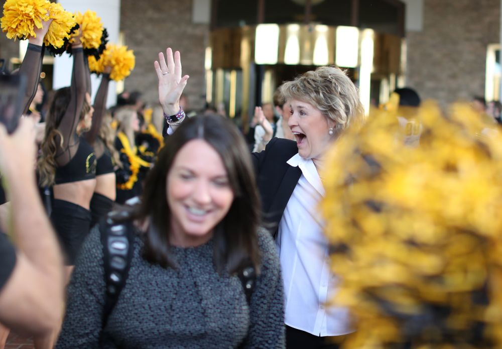 Iowa Hawkeyes head coach Lisa Bluder during a send off at the hotel before their game against the NC State Wolfpack in the regional semi-final of the 2019 NCAA Women's College Basketball Tournament Saturday, March 30, 2019 at Greensboro Coliseum in Greensboro, NC.(Brian Ray/hawkeyesports.com)