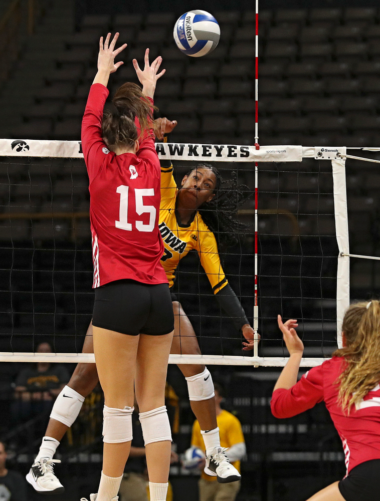 Iowa's Griere Hughes (10) lines up a shot during their match at Carver-Hawkeye Arena in Iowa City on Sunday, Oct 20, 2019. (Stephen Mally/hawkeyesports.com)