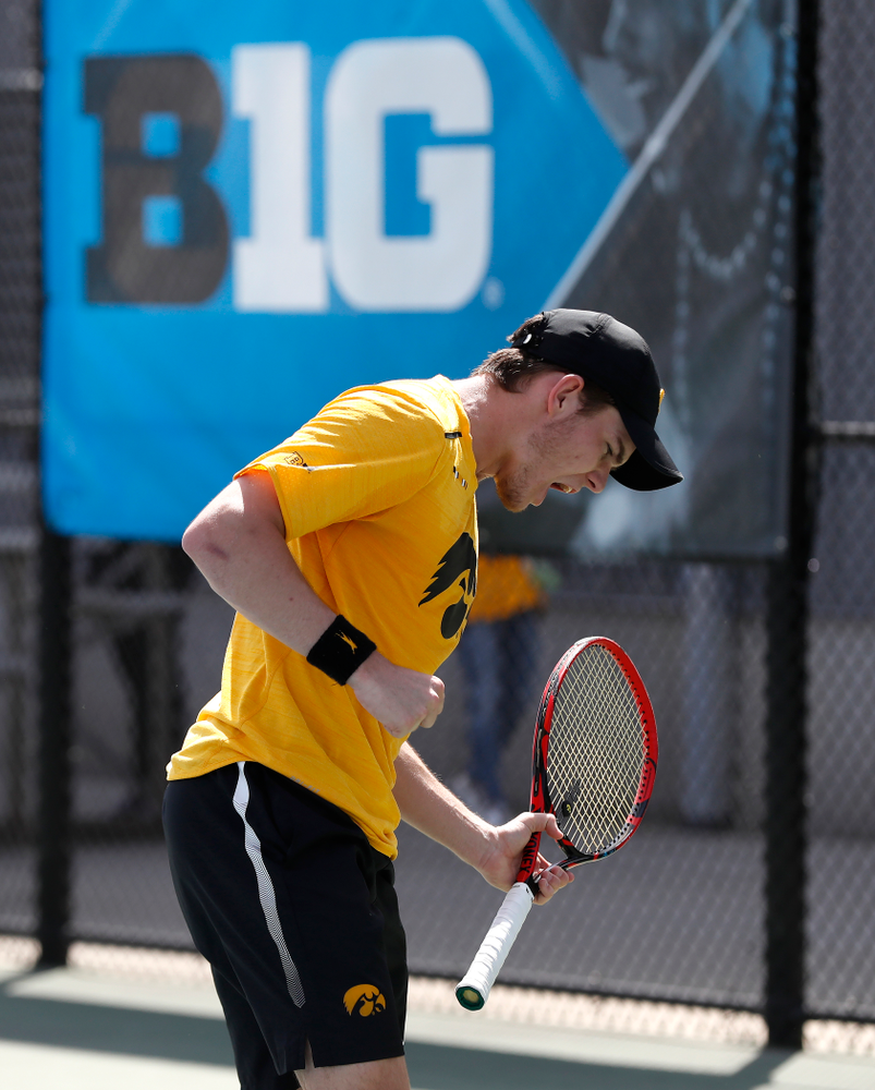 Jonas Larsen against Northwestern in the first round of the 2018 Big Ten Men's Tennis Tournament Thursday, April 26, 2018 at the Hawkeye Tennis and Recreation Complex. (Brian Ray/hawkeyesports.com)
