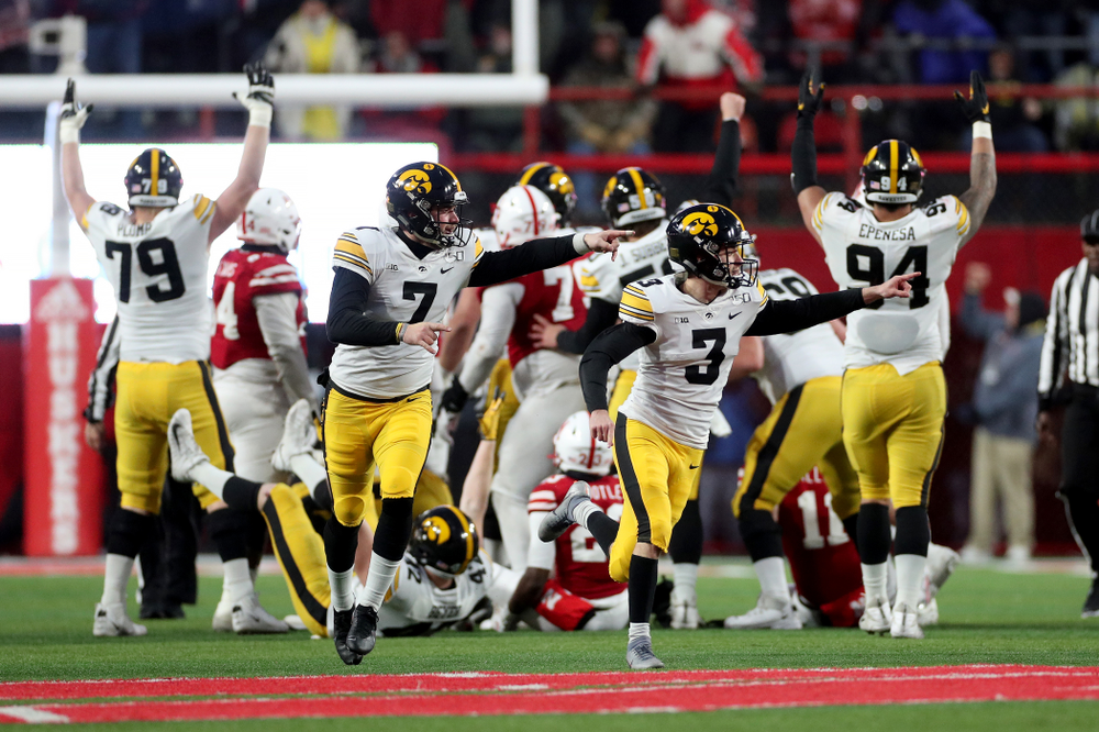 Iowa Hawkeyes place kicker Keith Duncan (3) celebrates after kicking the game winning field goal against the Nebraska Cornhuskers Friday, November 29, 2019 at Memorial Stadium in Lincoln, Neb. (Brian Ray/hawkeyesports.com)