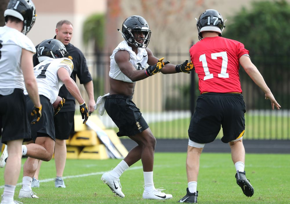 Iowa Hawkeyes defensive back Matt Hankins (8) during practice for the 2019 Outback Bowl Friday, December 28, 2018 at the University of Tampa. (Brian Ray/hawkeyesports.com)
