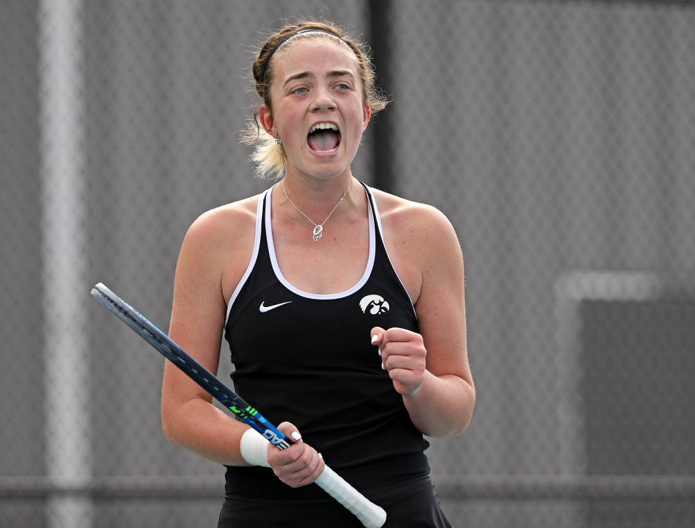 Iowa's Sophie Clark celebrates a point during a match against Rutgers at the Hawkeye Tennis and Recreation Complex in Iowa City on Friday, Apr. 5, 2019. (Stephen Mally/hawkeyesports.com)