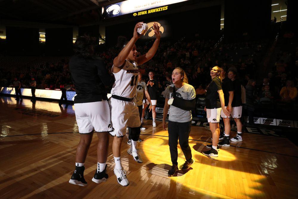 Iowa Hawkeyes guard Tania Davis (11) and guard Zion Sanders (24) against Oral Roberts University Friday, November 9, 2018 at Carver-Hawkeye Arena. (Brian Ray/hawkeyesports.com)