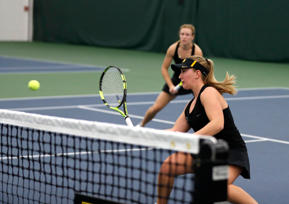 Danielle Burich and Montana Crawford play a doubles match against Ohio State Sunday, March 25, 2018 at the Hawkeye Tennis and Recreation Center. (Brian Ray/hawkeyesports.com)