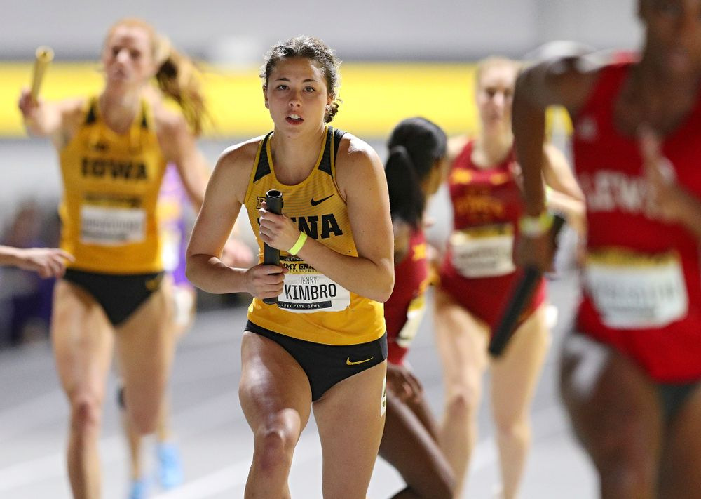 Iowa's Jenny Kimbro runs the women's 1600 meter relay event during the Jimmy Grant Invitational at the Recreation Building in Iowa City on Saturday, December 14, 2019. (Stephen Mally/hawkeyesports.com)