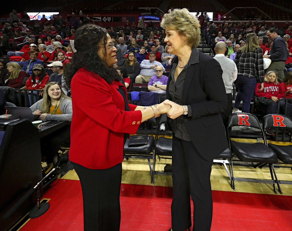 Rutgers head coach C. Vivian Stringer greets Iowa head coach Lisa Bluder before their game at the Rutgers Athletic Center in Piscataway, N.J. on Sunday, March 1, 2020. (Stephen Mally/hawkeyesports.com)
