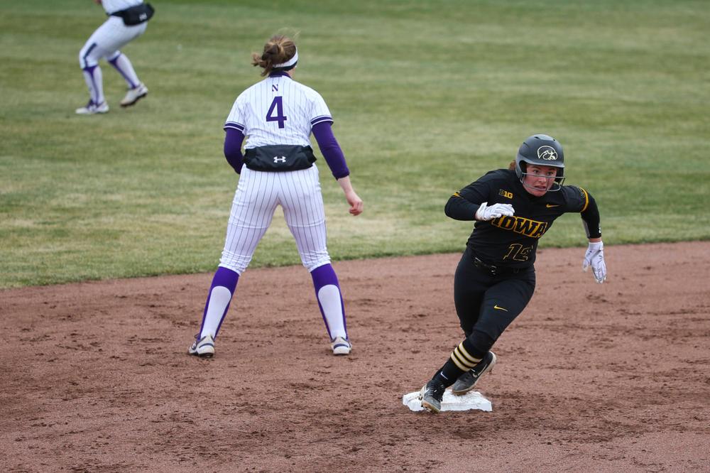 Iowa's Kate Claypool (12) at game 2 vs Northwestern on Saturday, March 30, 2019 at Bob Pearl Field. (Lily Smith/hawkeyesports.com)